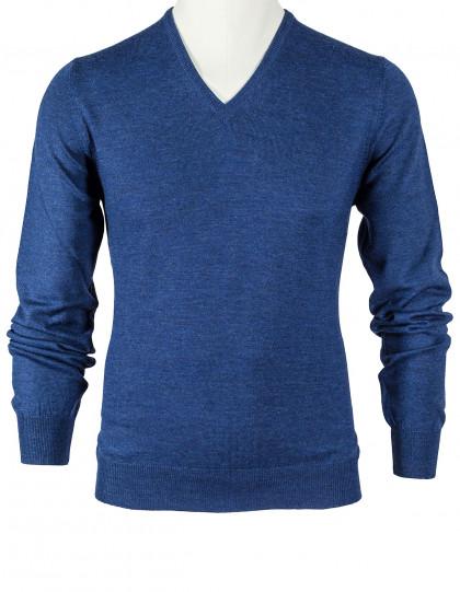 SOBS V-Kragenpullover in jeansblau aus Schurwolle
