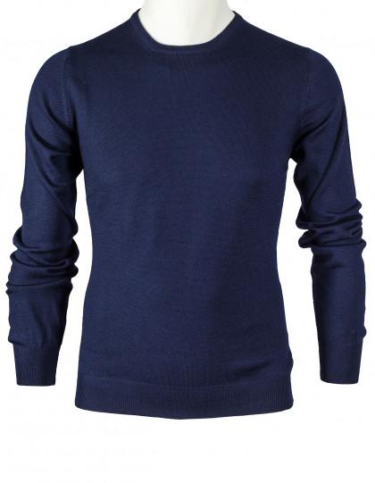 SOBS Rundhalspullover in dunkelblau aus Schurwolle