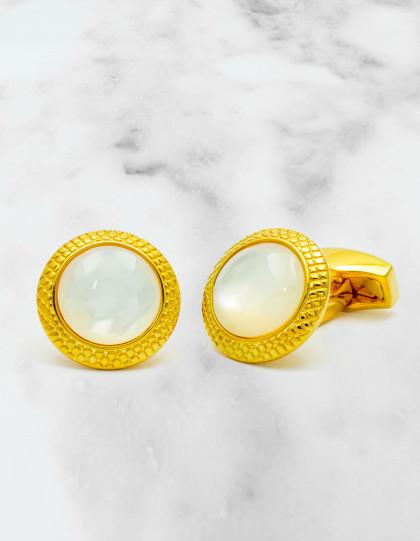Tateossian Bullseys White MOP Gold Plated Manschettenknöpfe