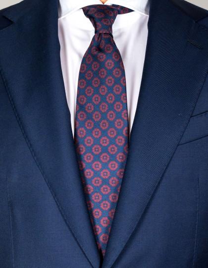 Kiton Krawatte in tiefdunkelblau mit dunkelrotem Muster