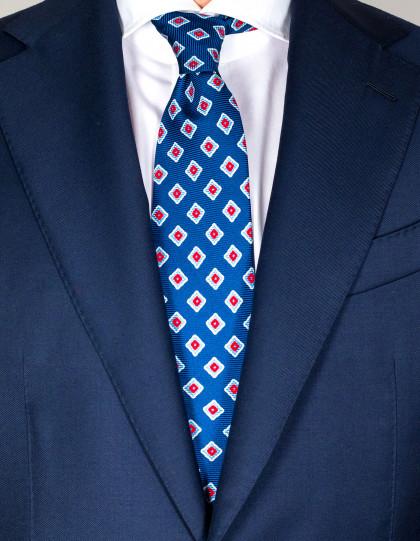 Kiton Krawatte in saphirblau mit hellblau-rot-weißem Muster