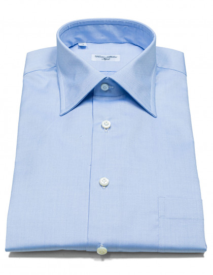 Cesare Attolini Hemd in blau mit Brusttasche und Kentkragen