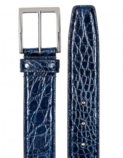 SOBS Herrenmode Krokogürtel in blau