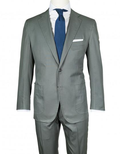 Kiton Anzug in olivgrün mit aufgesetzten Taschen aus Baumwolle