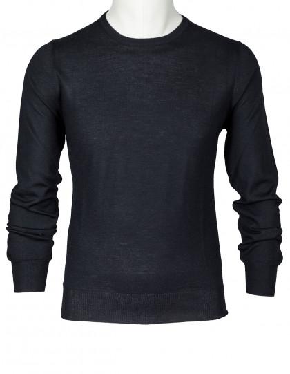 SOBS Rundhalspullover in schwarz aus Sommerkaschmir