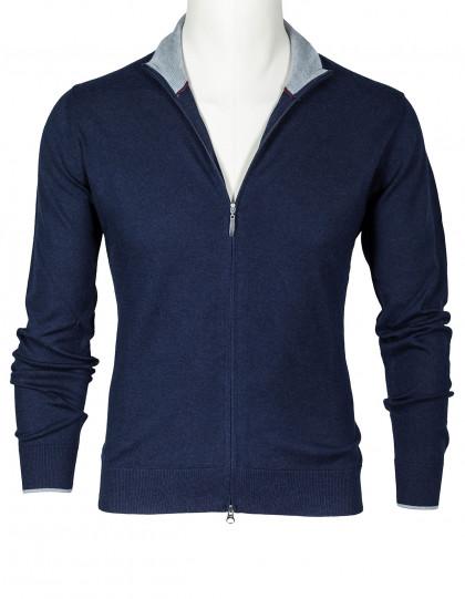 SOBS Strickjacke in dunkelblau mit grauer Kante aus Baumwolle / Kaschmir / Seide