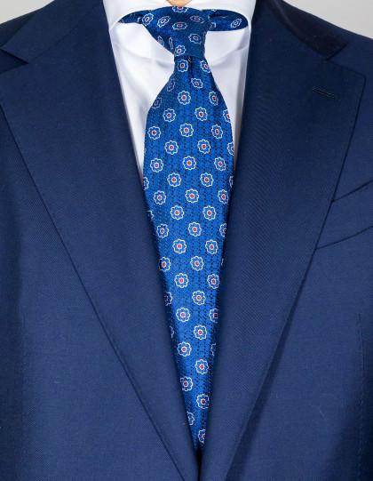 Kiton Krawatte in kobaltblau mit kobaltblau-weiß-roten Blumen