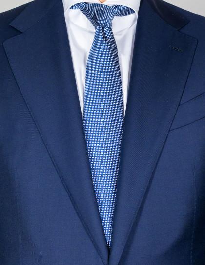 Kiton Krawatte in dunkelblau mit weißen Punkten aus Seide / Baumwolle