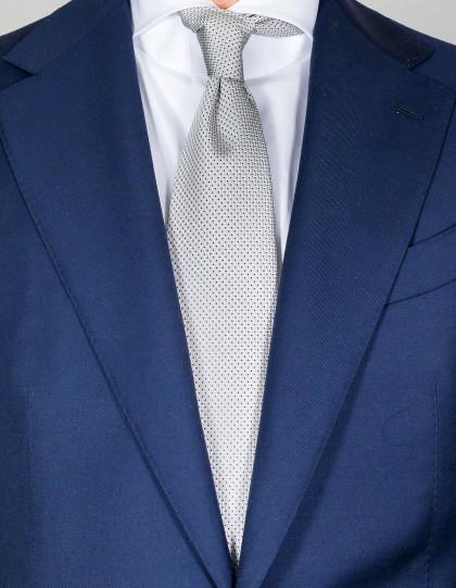 Luigi Borrelli Krawatte in silber mit feinen dunkelblauen Punkten