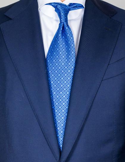 Luigi Borrelli Krawatte in blau mit blauen Rauten