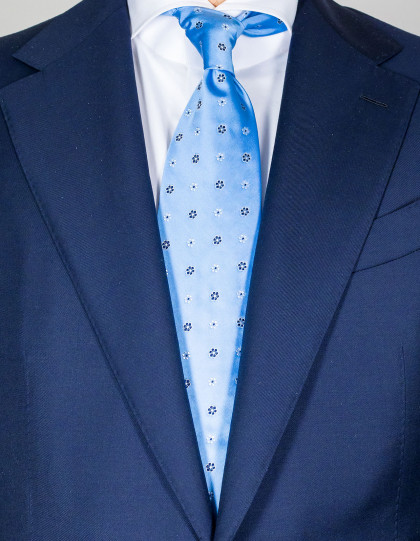 Luigi Borrelli Krawatte in hellblau mit dunkelblau-weißen Blumen