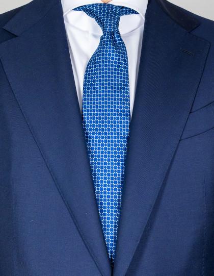 Kiton Krawatte in blau mit hellblau-weißem Muster
