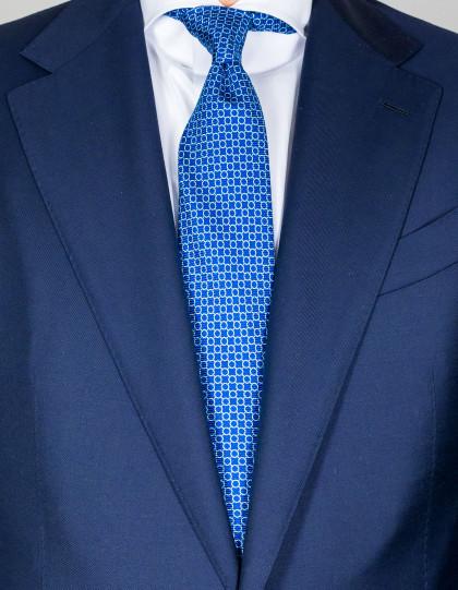 Kiton Krawatte in blau mit weiß-hellblauem Muster