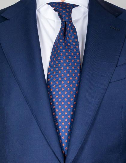 Cesare Attolini Krawatte in dunkelblau mit braunen Punkten