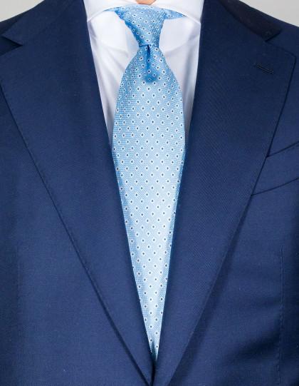 Cesare Attolini Krawatte in hellblau mit weiß-hellblauen Punkten