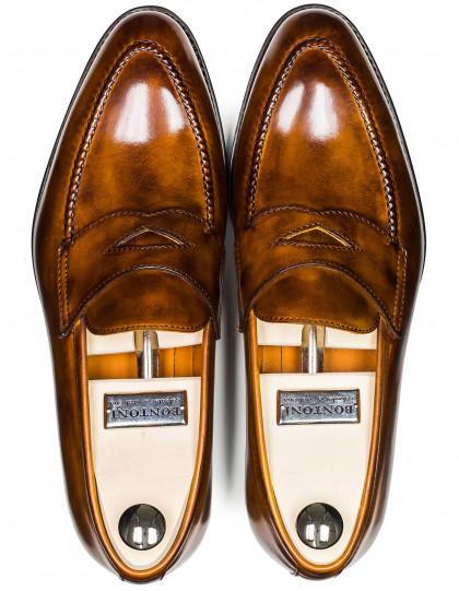 Bontoni Penny Loafer in cognac mit umlaufender Naht und aufwendiger Politur
