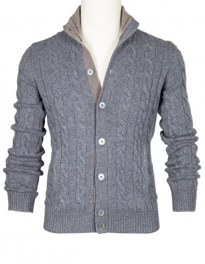 SOBS Strickjacke in grau mit Zopfmuster und zwei Taschen aus Kaschmir