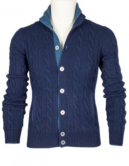 SOBS Strickjacke in blau mit Zopfmuster und zwei Taschen aus Kaschmir
