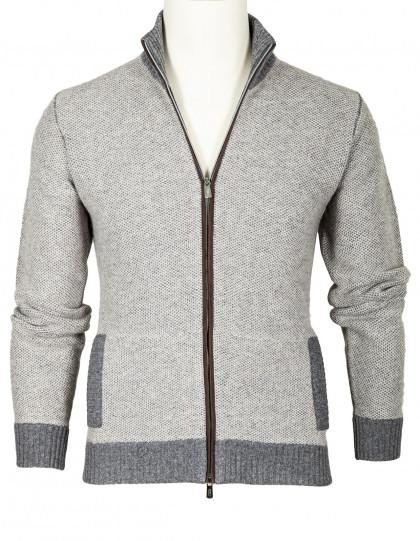 Fedeli Strickjacke mit Reißverschluss in hellgrau-grau meliert mit brauner Velourslederleiste und zwei Taschen aus Schurwolle / Kaschmir