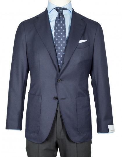 Caruso Sakko in dunkelblau mit aufgesetzten Taschen aus Super 120'S Wolle