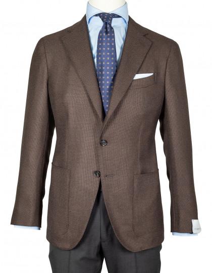 Caruso Sakko in braun strukturiert mit aufgesetzten Taschen