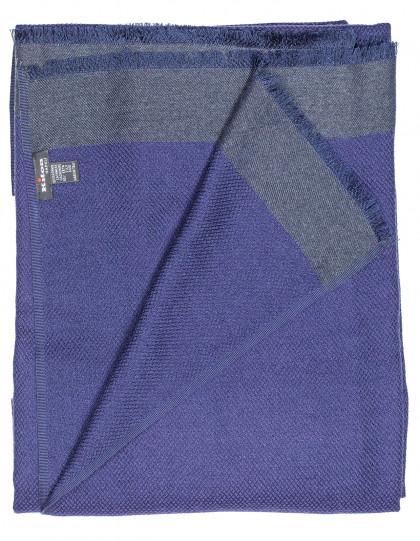 Kiton Schal in dunkelblau mit einer strukturierten grauen Kante aus Kaschmir / Seide