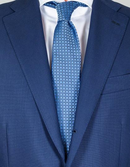 Kiton Krawatte in dunkelblau mit hellblauem Muster und blauen Punkten