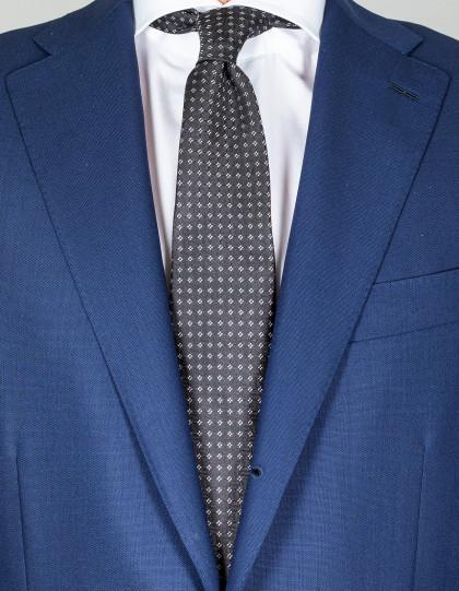 Kiton Krawatte in schwarz mit kleinen weißen Quadraten