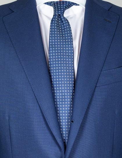 Kiton Krawatte in dunkelblau mit kleinen weißen Quadraten