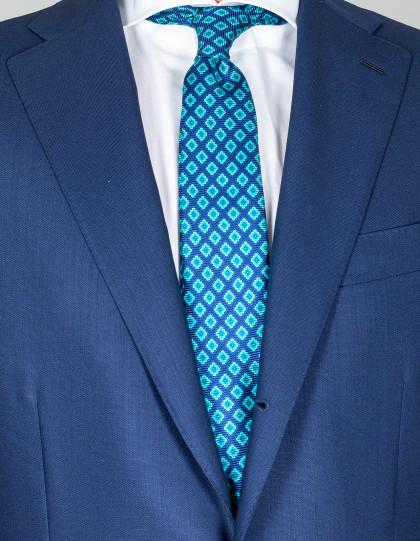 Kiton Krawatte in dunkelblau mit türkisem Muster