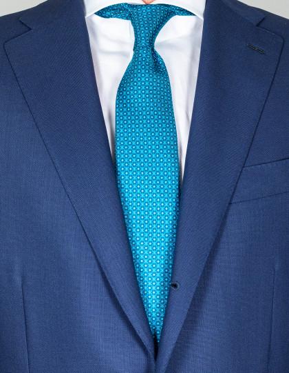 Kiton Krawatte in türkis mit Punkten und Muster