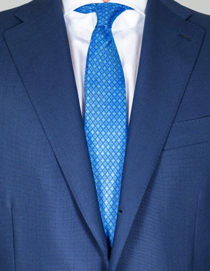 Kiton Krawatte in blau mit dunkelblau-weißen Punkten
