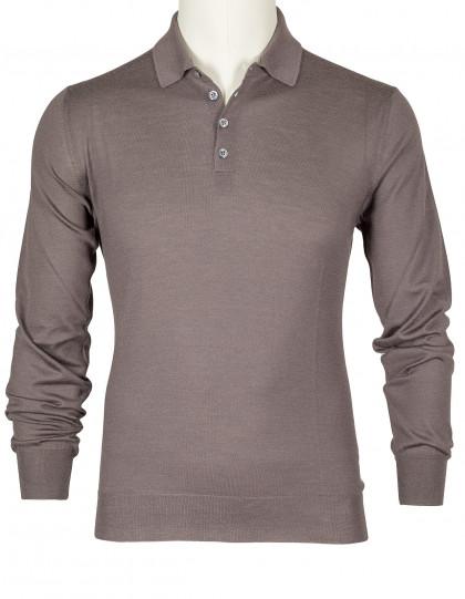 SOBS Pullover in braun mit Polokragen aus Kaschmir