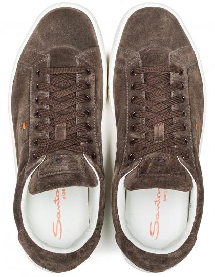 Santoni Sneaker in dunkelbraun aus Veloursleder