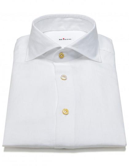Kiton Leinenhemd in weiß mit Haikragen