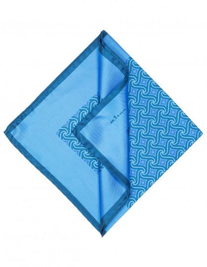 Kiton Einstecktuch in hellblau mit hellblau - dunkelblauem Muster und einer dunkelblauen abgesetzten Kante