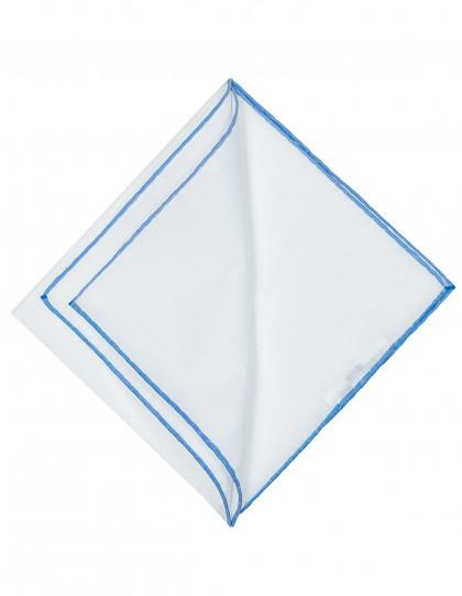 Cesare Attolini Einstecktuch in weiß mit blauer handrollierter Kante aus Leinen / Baumwolle