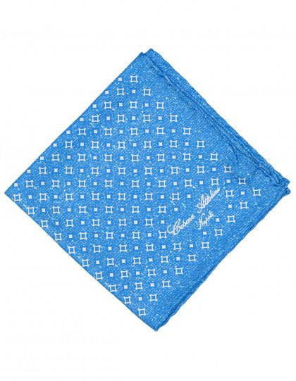 Cesare Attolini Einstecktuch in hellblau mit weißem Muster und handrollierter Kante