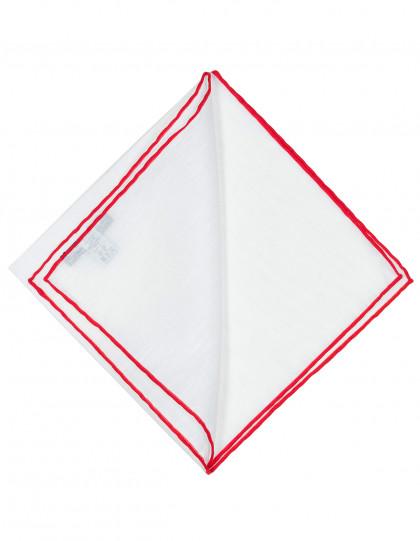 Cesare Attolini Einstecktuch in weiß mit roter handrollierter Kante aus Leinen / Baumwolle