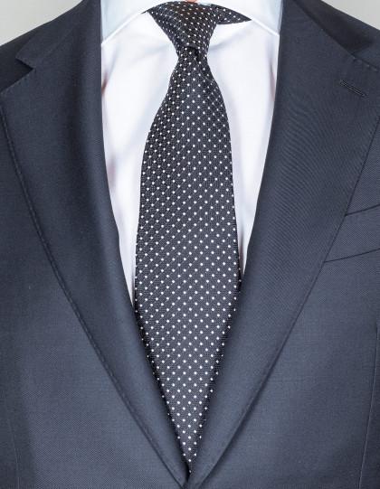 Kiton Krawatte in schwarz mit weißen Punkten und Struktur