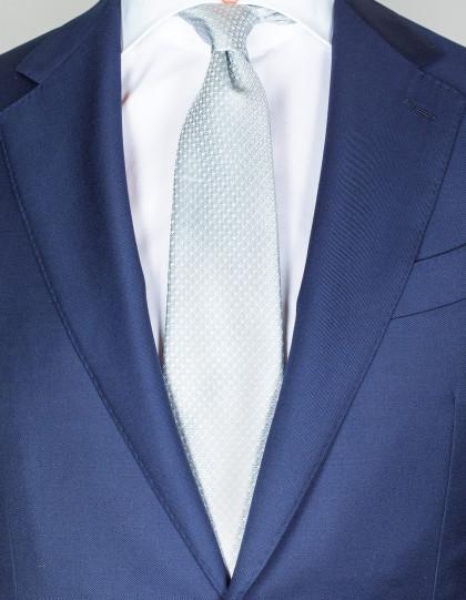 Kiton Krawatte in silber mit weißen Punkten und Muster