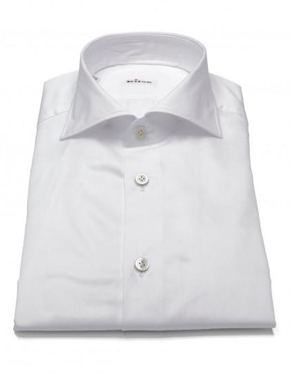 Kiton Hemd in weiß mit Doppelmanschette und Haikragen