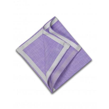 Simonnot Godard Einstecktuch lila mit grauer seiden Borte