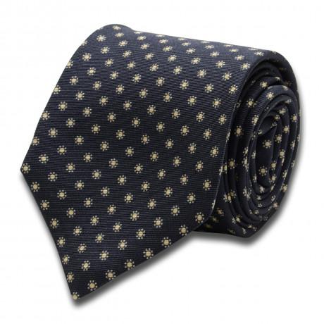 Kiton Krawatte dunkel blau mit beigen Blumen
