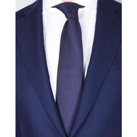 Borrelli Krawatte in dunkel blau strukturiert mit weißen Punkten