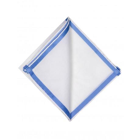 Simonnot Godard Einstecktuch in weiß mit hellblauer Kante