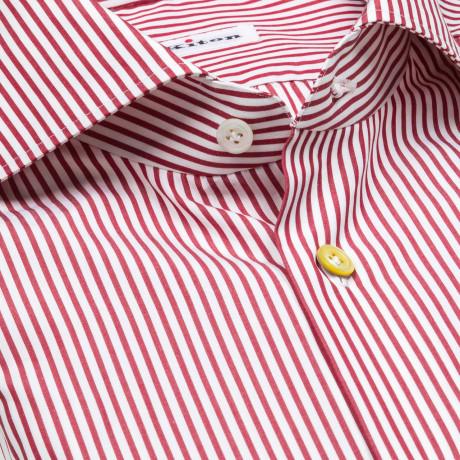 Kiton Hemd in rot gestreift mit Haikragen