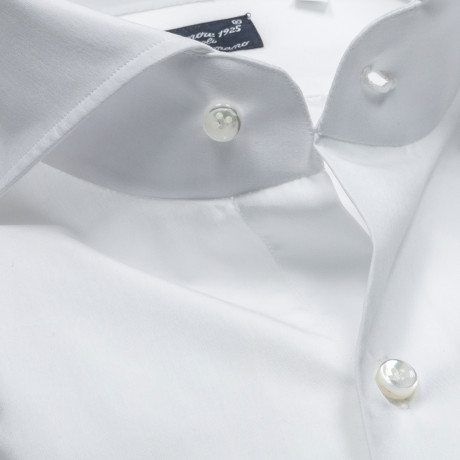 Finamore 1925 Hemd in weiß mit Doppelmanschette und Haikragen