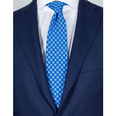 Luigi Borrelli Krawatte in blau mit hellblauen Blumen und Punkten