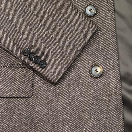Caruso Mantel mit braunem Fischgratmuster aus Wolle / Kaschmir